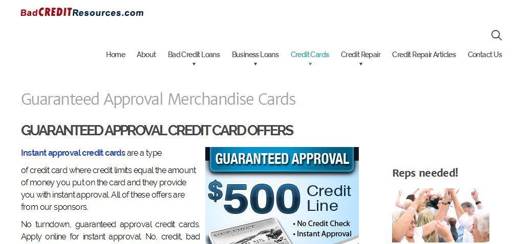 Guaranteed approval merchandise cards gu aranteed