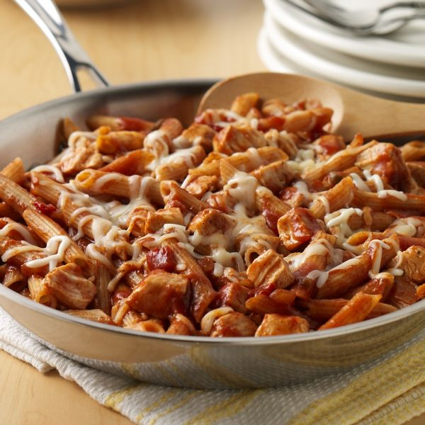 Chicken and pasta recipe flavored with Manwich Sloppy Joe Sauce and topped with mozzarella cheese