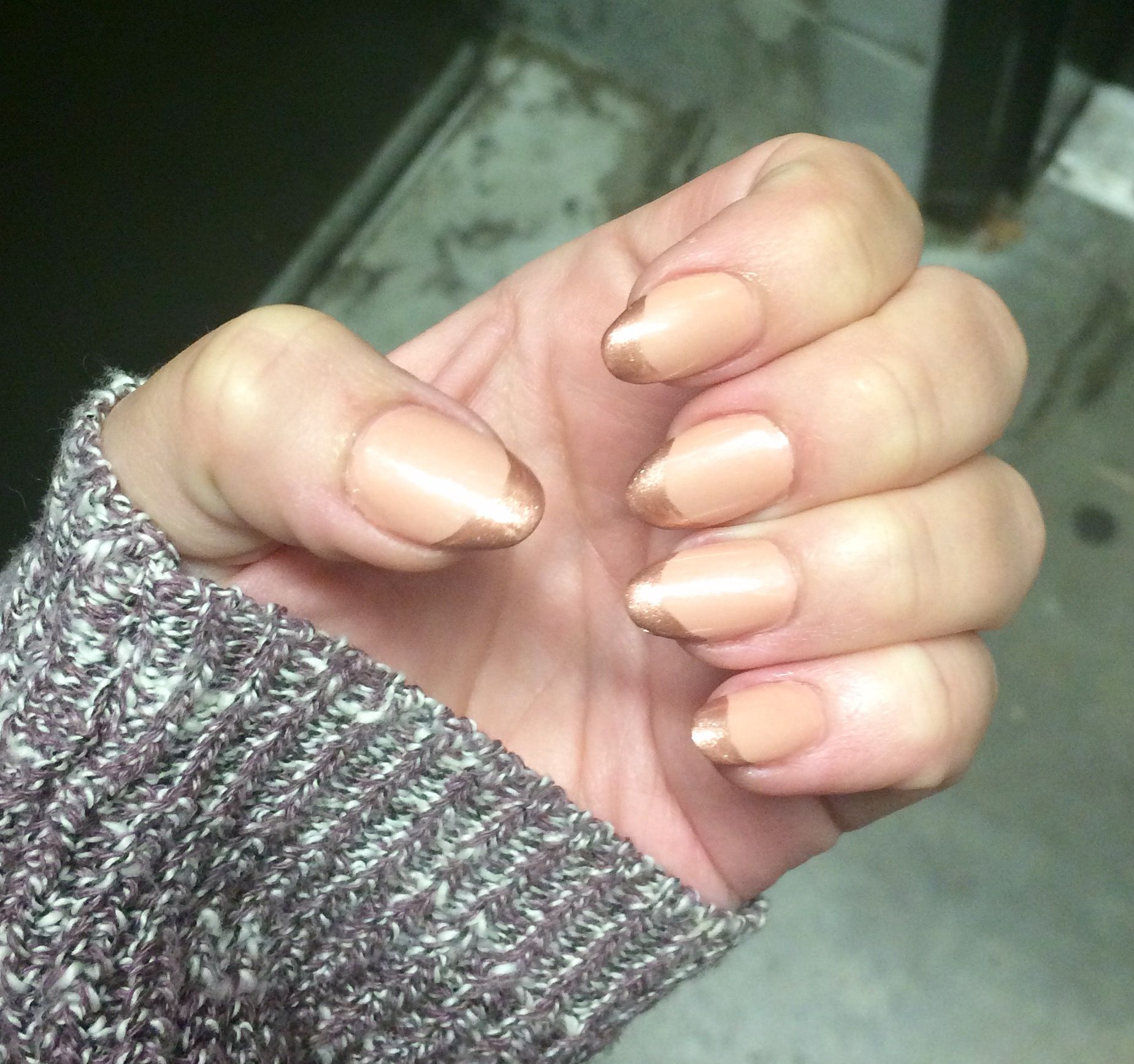 Almond shape nails rose gold French | Nails | Pinterest | Almond ...