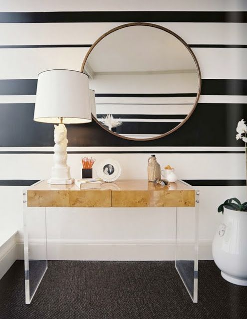 Stripped walls with lucite and wood furniture