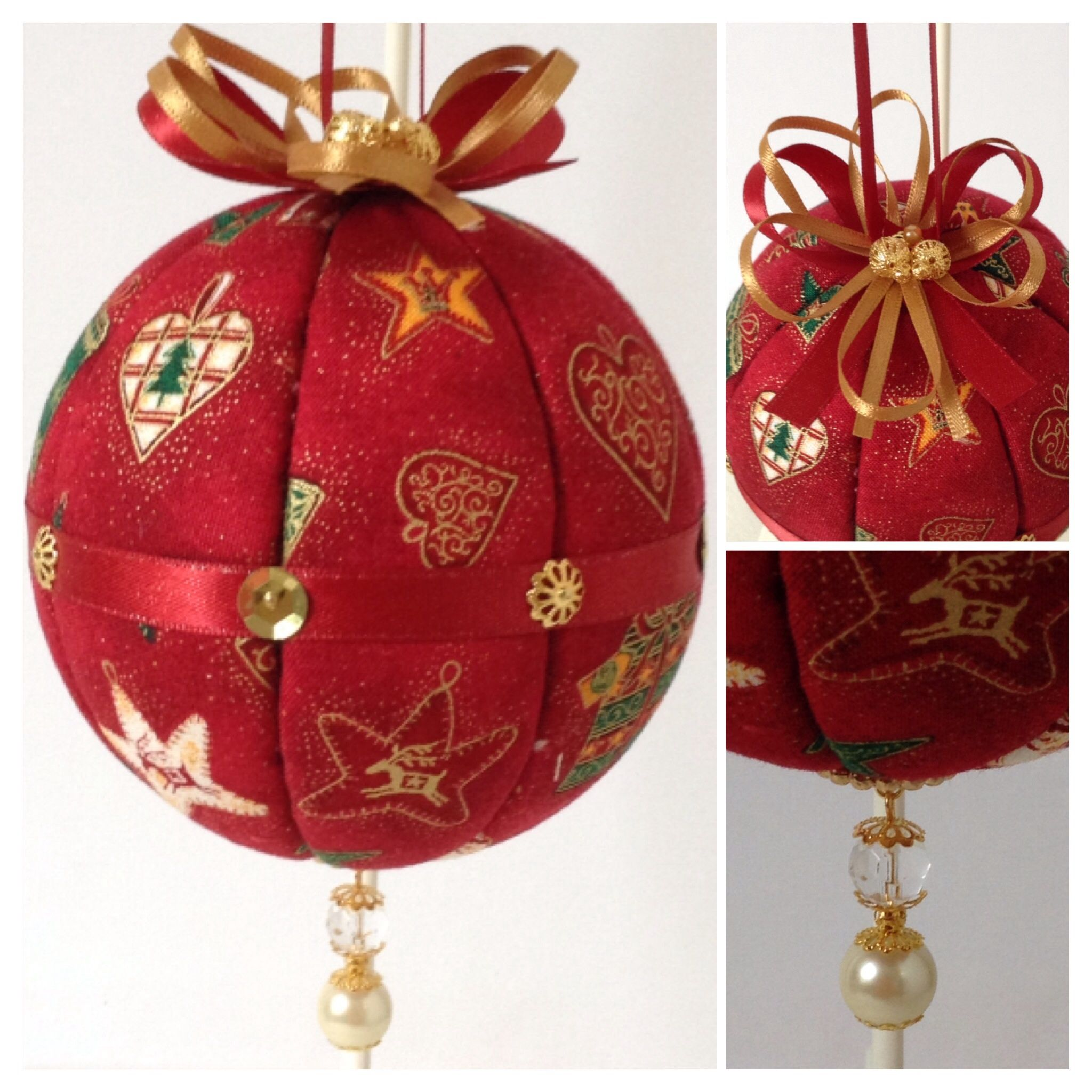 Fabric Covered Polystyrene Bauble