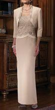 New Style 3/4 Sleeve Long Sheath Lace Chiffon Mother of the Bride Dress with Jacket Formal Dress Custom 6 8 10 12 14 16 18+ M19(China (Mainland))