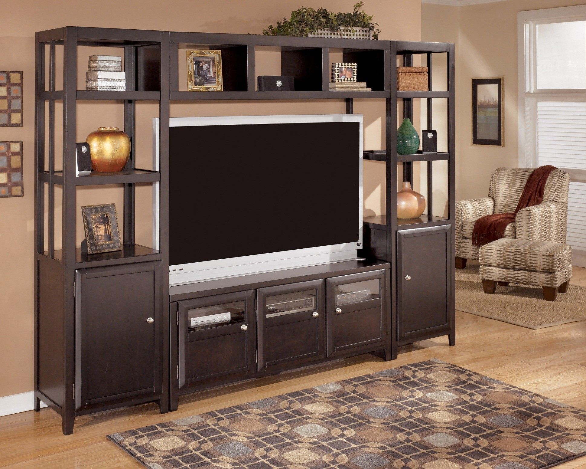 stand in shay with unit tv entertainment fireplace black insert piers w side two center furniture bridge ashley file large
