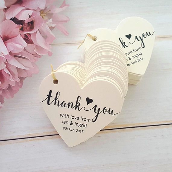 10 Personalised Heart Shaped Wedding Favour Tags