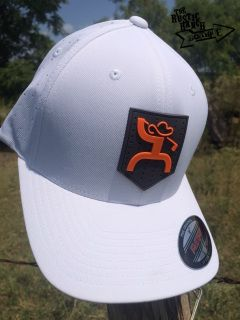 e0cd2824ada White fitted Flexfit Hat Orange HOOey Golf Man design on gray rubber crest  Back of the cap is performance tech fabric for maximum ventilation HOOey  Golf ...