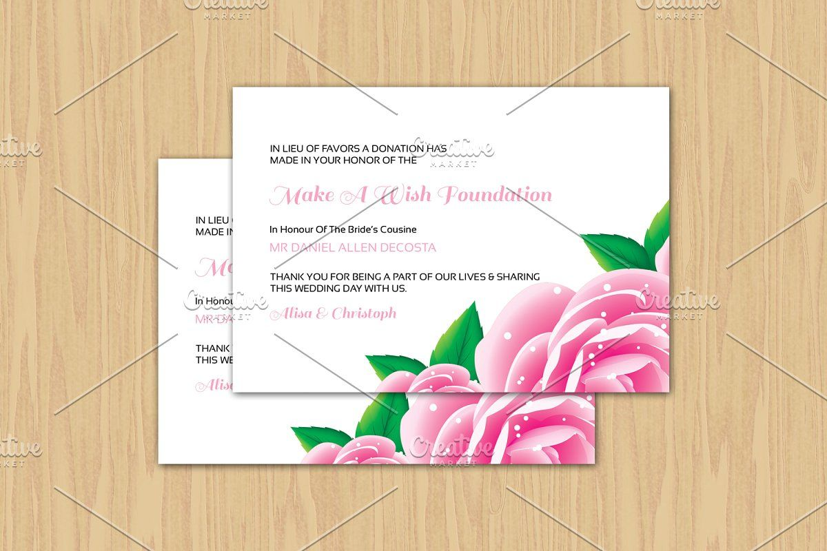 wedding favor donation card template in 2020  donation