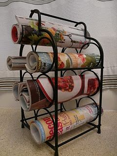 Re-use an OLD WINE Bottle Holder RACK - into a NEWSPAPER/MAGAZINE-Holder  Storage Organizer RACK - Other Uses for a Metal Wine Rack