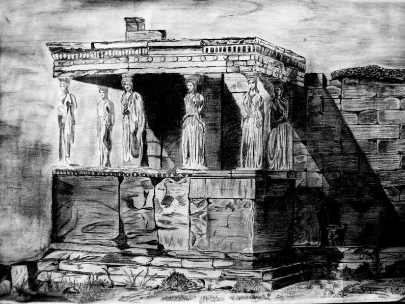 Architecture Drawing Pencil erechtheion :caryatids, pencil drawing | architectural drawings