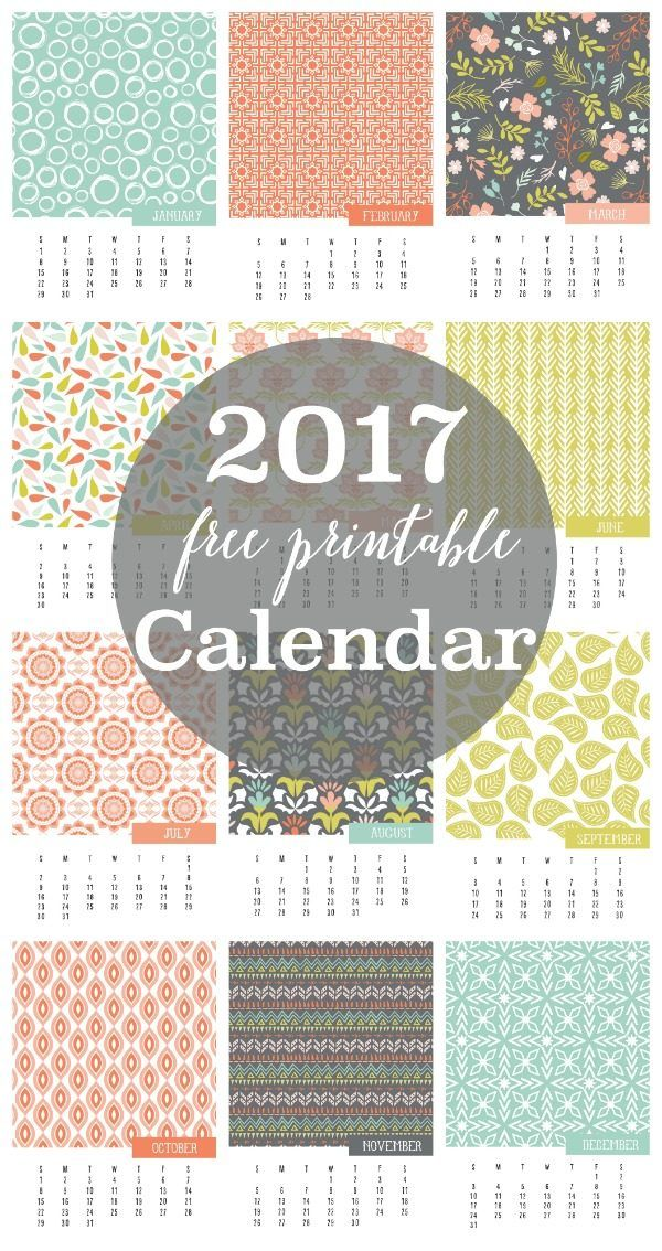 Free Printable 2017 Calendars: Bright and Beautiful | More Free ...