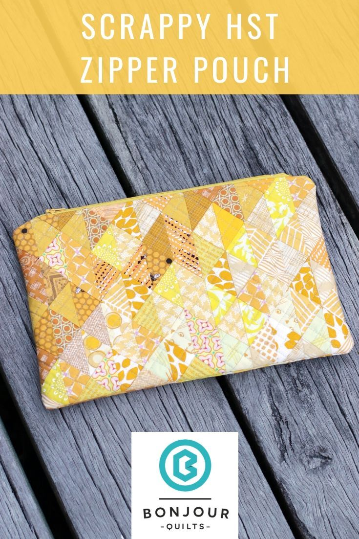 Scrappy HST patchwork zipper pouch #scrapfabric