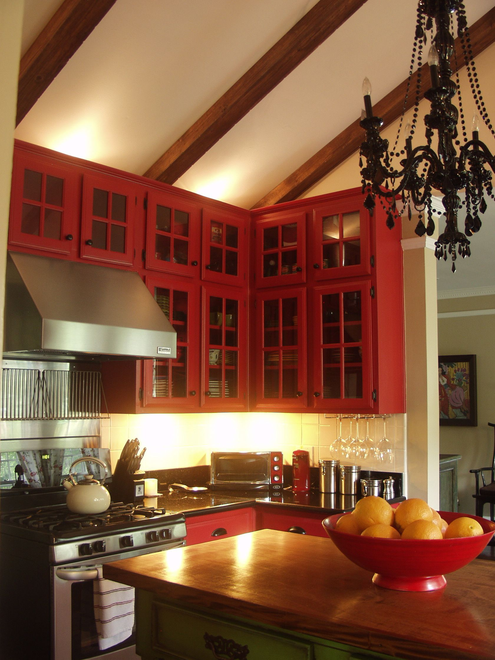 Red Cabinets, Black Chandelier Perfect Kitchen Yes Use A Chandelier
