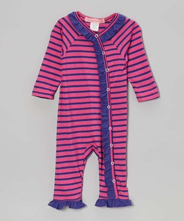 Take a look at this Purple Stripe Ruffle Playsuit - Infant on zulily today!