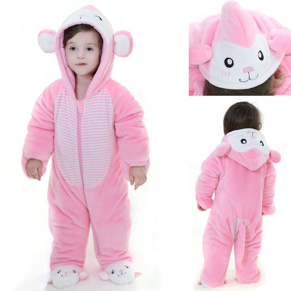 0216c3687 Winter Pink Mouse Rat Costume Babies Toddler Onesie Kigurumi Hoodie ...