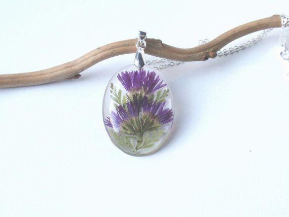 Real Flower Necklace Pressed Flower Jewelry Botanical Jewelry Resin Jewelry Purple Aster Resin Neckl Real Flower Jewelry Botanical Jewelry Flower Jewellery