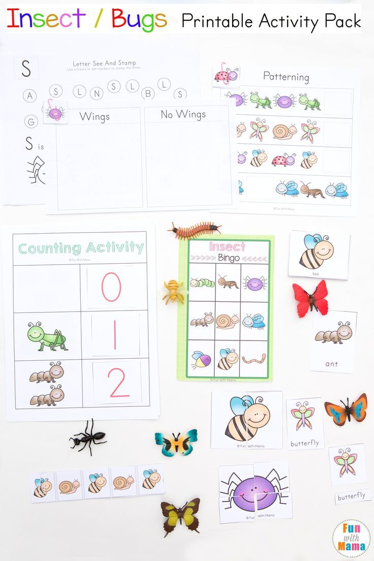 This Printable Insect And Bugs Themed Activity Unit For Preschool And Prek Students Works On Math Coun Printable Activities Activity Pack Preschool Worksheets [ 1104 x 736 Pixel ]