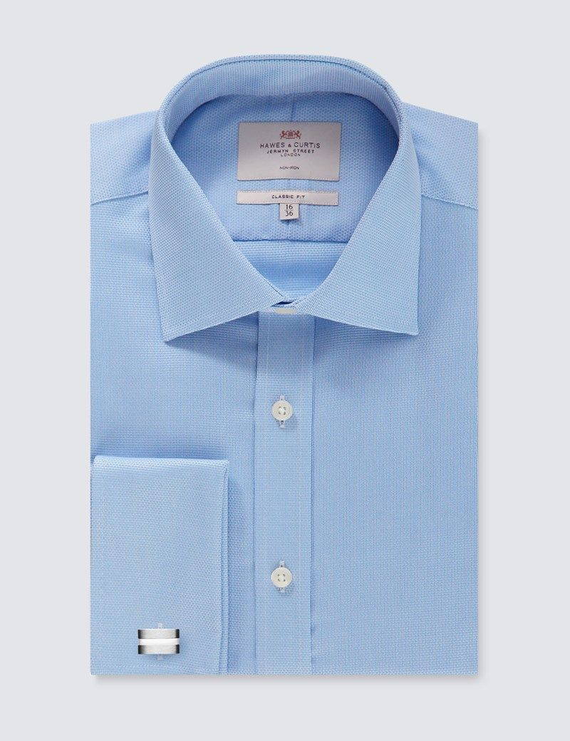 ffc1f29589dc Men s Formal Blue Textured Classic Fit Shirt - Non Iron - Double Cuff