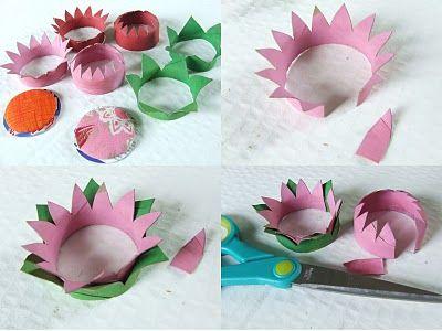 flores hechas con rollos de papel
