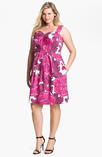 Donna Ricco Print Stretch Cotton Sundress Plus Size Available At