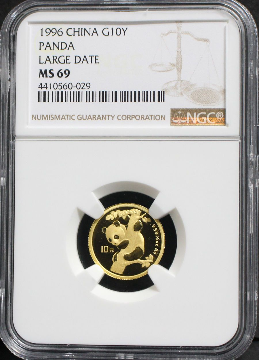 China 1996 10 Yuan Panda Large Date 1 10oz Gold Coin Ngc Ms69 Ngc Gold Coins Panda