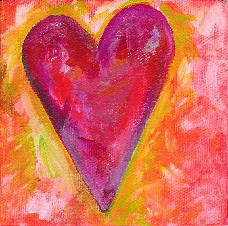 Orange And Hot Pink Pretty Heart Malerier Tegning Glaskunst