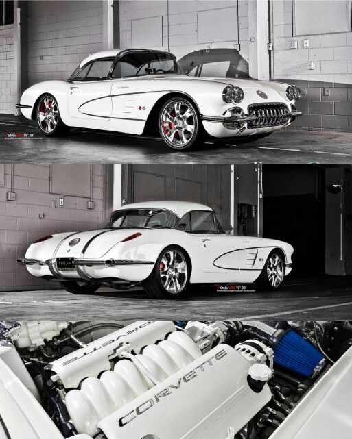 "Take a look at this stunning  C1  Corvette. Although it's been customized I feel it's been done in a tasteful way, the wheels are questionable but overall a beautiful car. Some interesting 'Vette facts: *y* The Corvette was the first and last car with a true ""wrap-around"" windshield. *y* The 1957 'Vette was the first American sports car  to offer 1 horsepower per cubic inch (283ci/283 hp)"