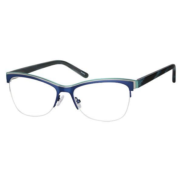 71c8f0c03c5 Zenni Womens Cat-Eye Prescription Eyeglasses Half-Rim Bl