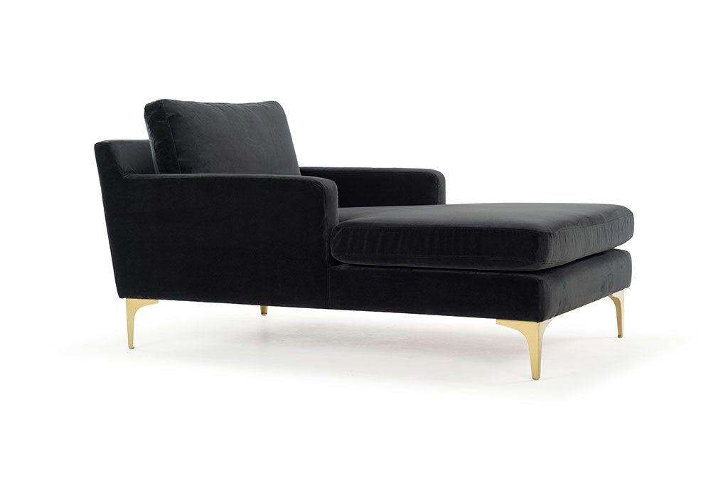 Astha Chaiselong Velour Dark Grey Brass Color Legs Danisches Design Sofas Und Design
