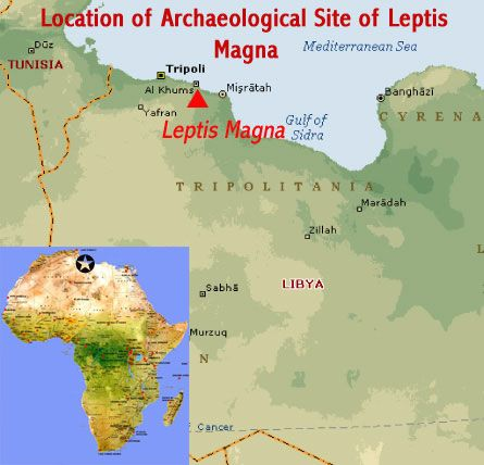 Map showing the location of the roman ruins at the archaeological map showing the location of the roman ruins at the archaeological site of leptis magna unesco publicscrutiny Image collections