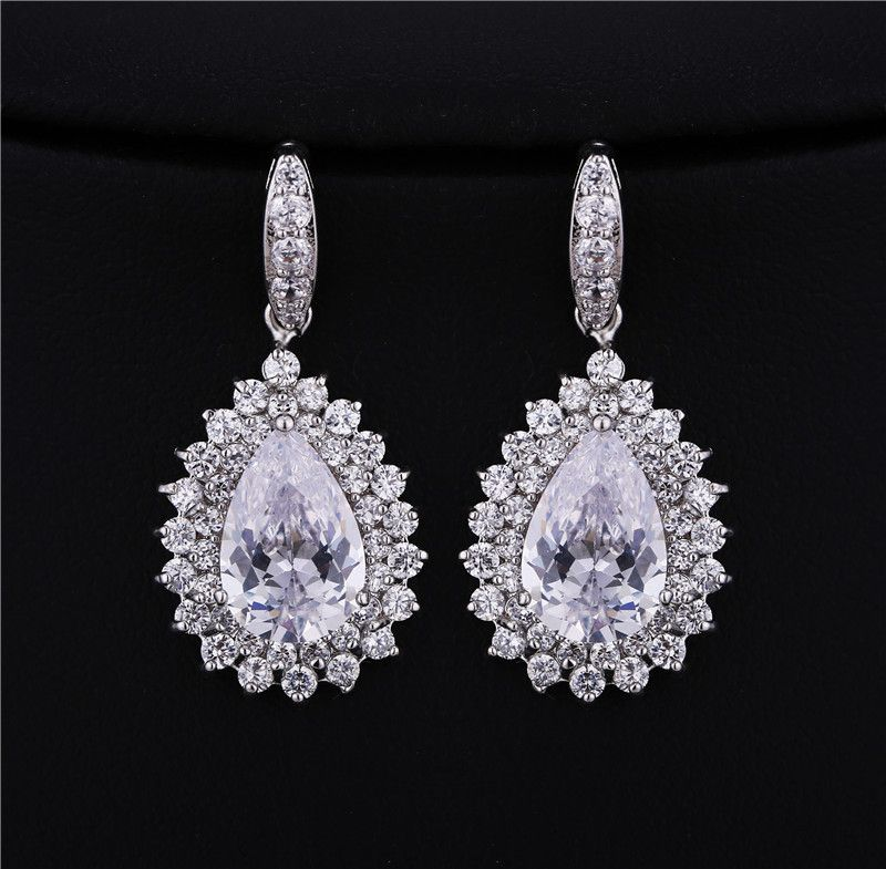 Details about  /Crystal Platinium Rhinestone Earrings