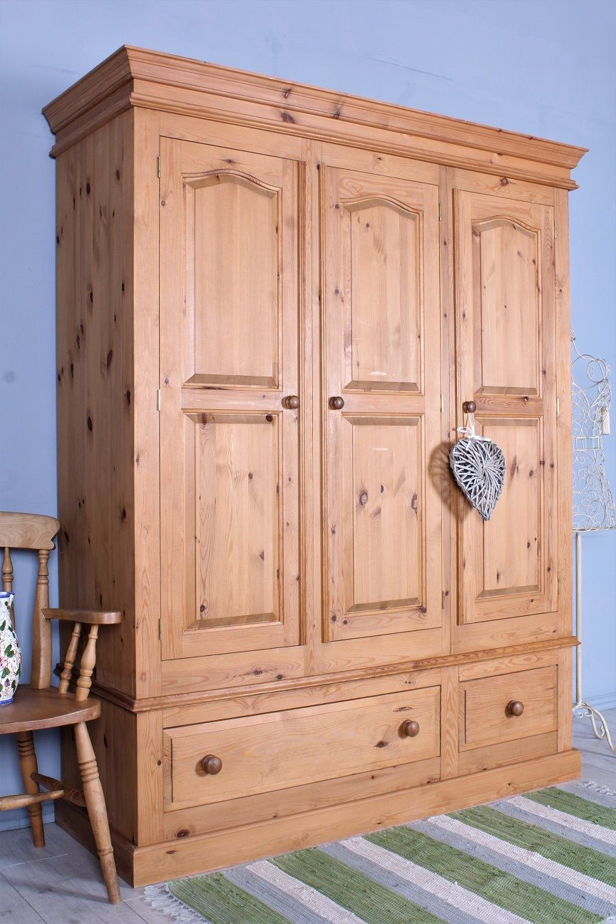 375 Large Triple Farmhouse Pine Wardrobe With Drawers Light In Colour With A Waxed Finish Clean Presentable Ins Pine Furniture Pine Wardrobe Furniture