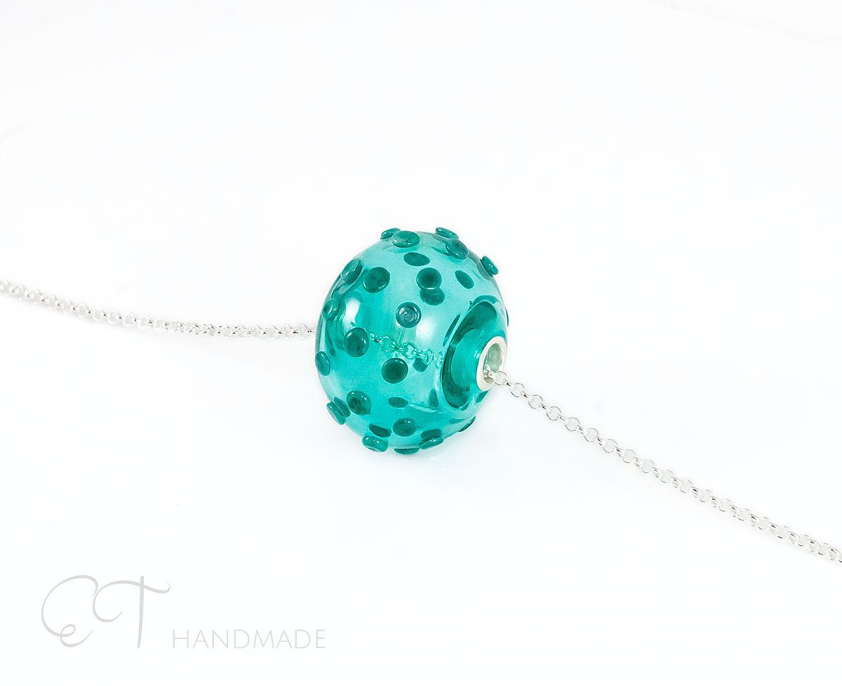 Murano Glass Necklace Charm Bead Teal Green Handblown Glass Sterling Silver Bubble Charm Murano Glass Necklaces Artisan Crafted Jewelry Glass Ball Pendant