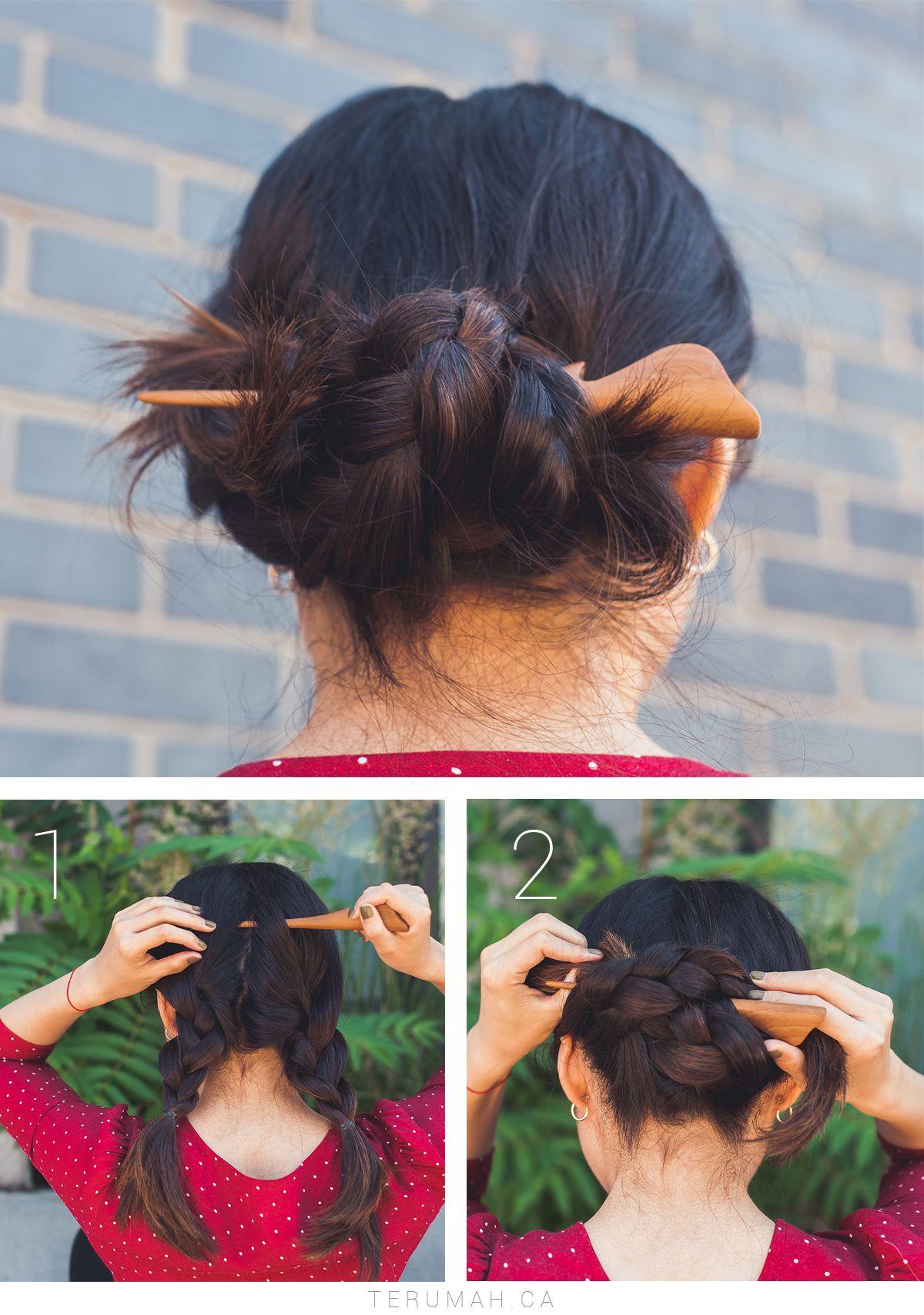 3 Easy Updos X Saya Hair Stick Terumah Hair Styles Short Hair Styles Easy Hair Sticks