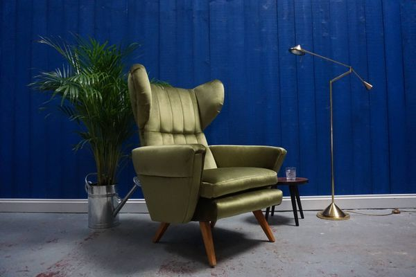 Large Mid-Century Green Velvet Lounge Chair, 1960s 2 | Mid ...