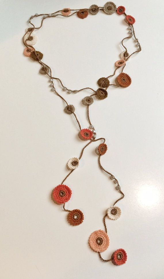 Earth shades Turkish style beaded crochet necklace   CoulorWays ...