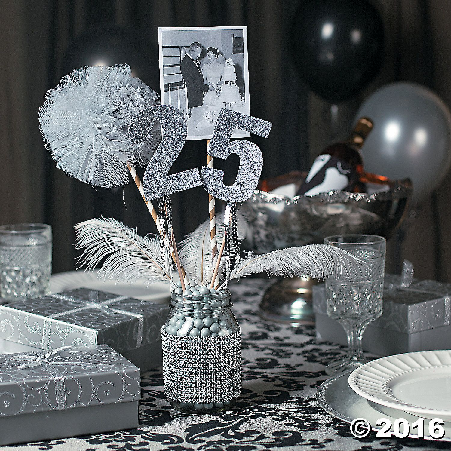 25th anniversary party mason jar centerpiece idea for 25th wedding anniversary decoration
