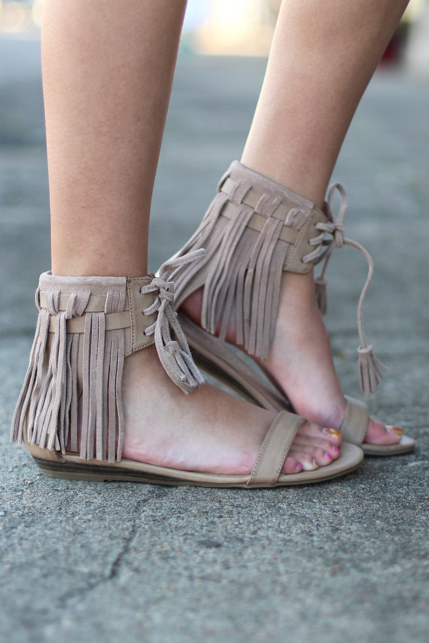 23f1a7341 Very Volatile  Aubrey Fringe Tie Sandal  Taupe  in 2019