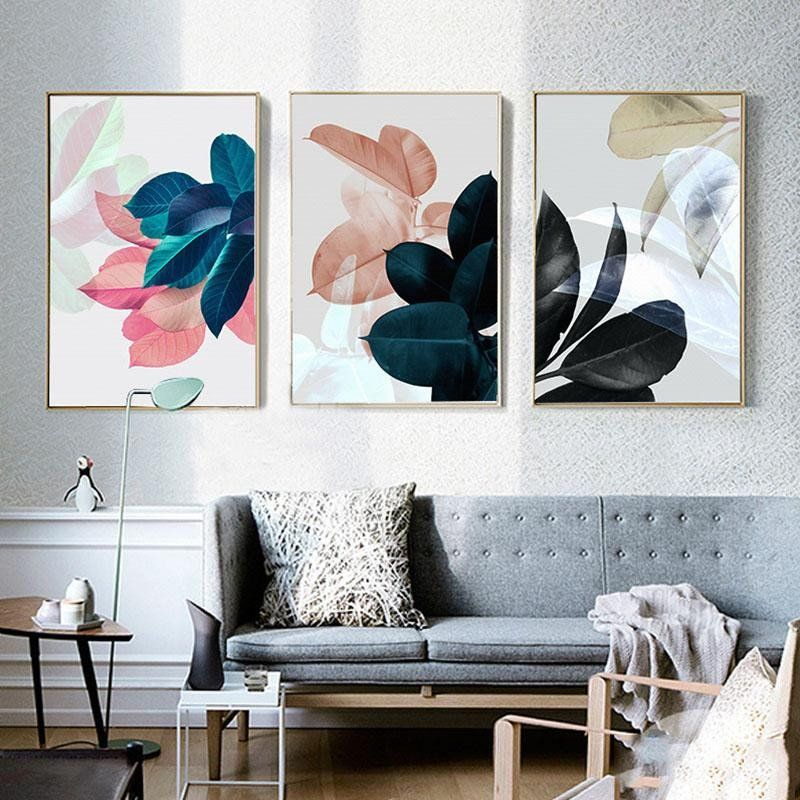 Living Room Painting Pictures Nordic Art Paintings Wall For Living Room Posters Plants Leaves Wall Art Canv In 2020 Leaf Wall Art Room Posters Wall Art Canvas Painting