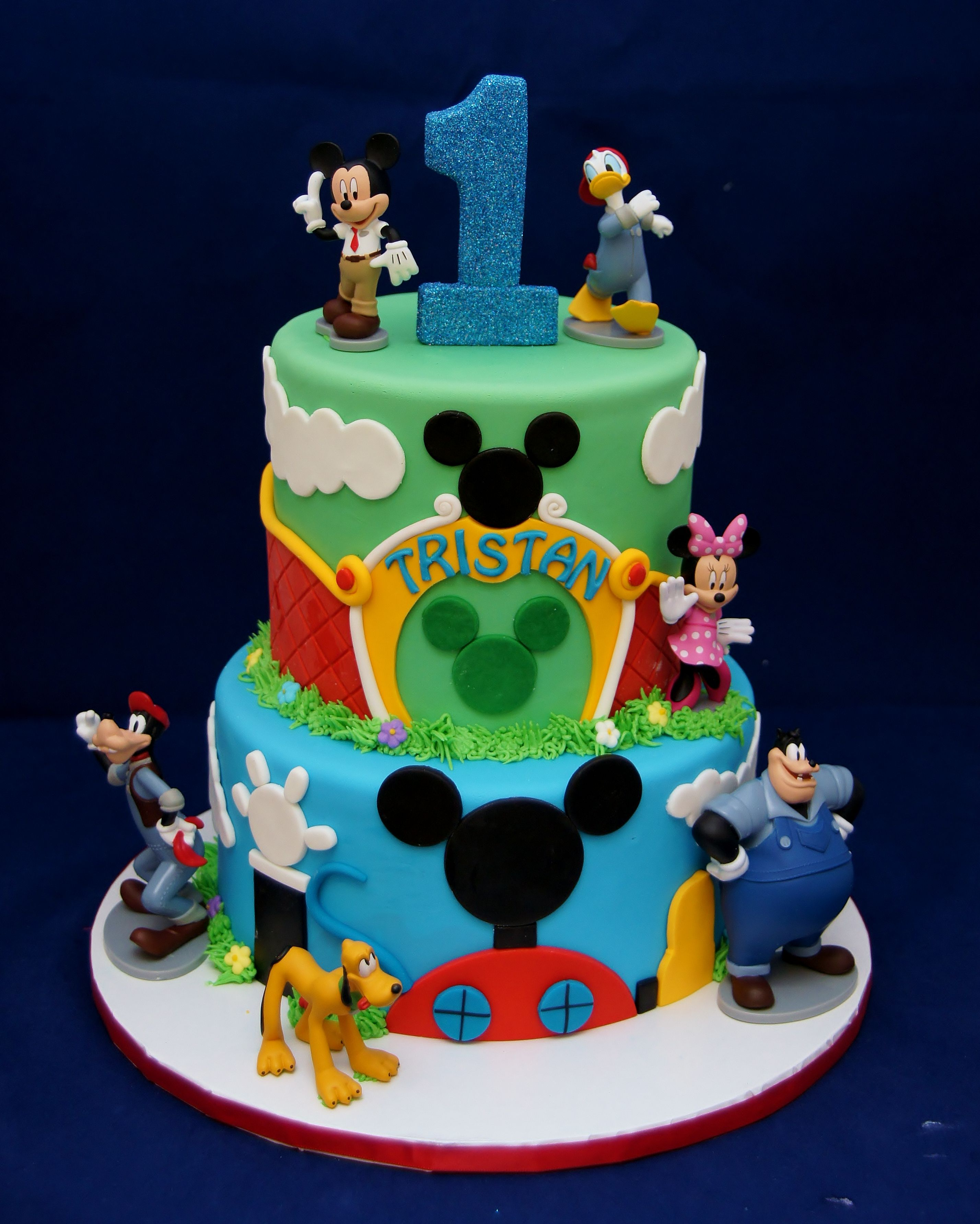 Superb Mickey Mouse Club Mickey Park Themed Cake 1St Birthday In Funny Birthday Cards Online Overcheapnameinfo