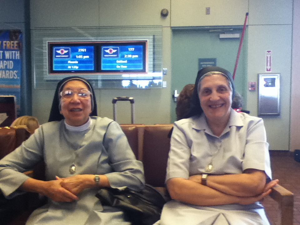 Canossian Sisters Teresa and Jenny waiting for their
