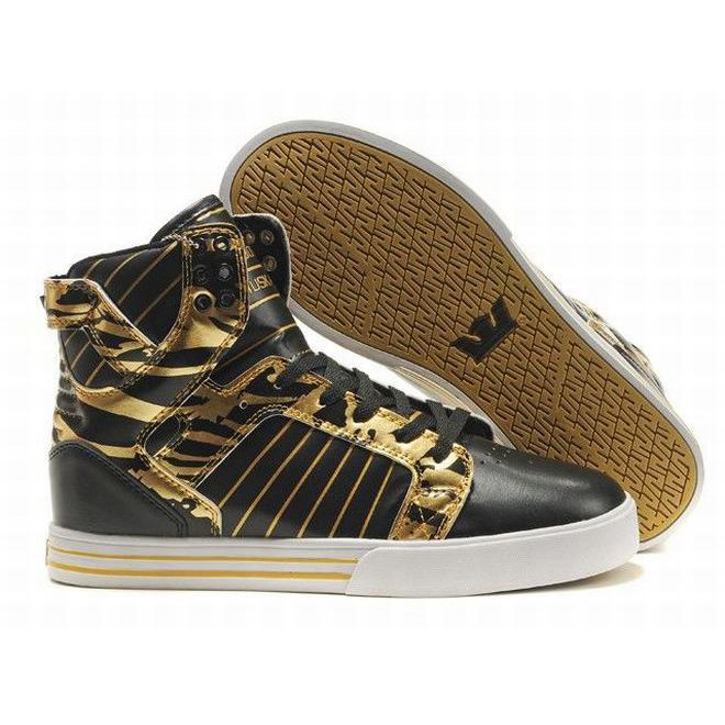 bde84e5a093 Supra Skytop High Tops Black/Gold/White Men's | fashion | Shoes ...