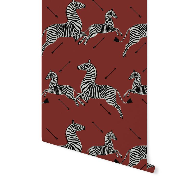 Zebra Removable Wallpaper Jumping Zebras Simply Peel And Stick Self Adhesive Fabric Repositionable And Reusable Highest Quality In 2021 Self Adhesive Wallpaper Removable Wallpaper Fabric Wallpaper