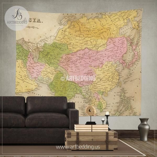 Antique map of Asia from 1841 wall tapestry, vintage interior map ...