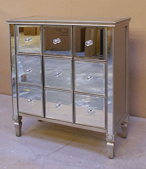 Best Antiqued Venetian Mirrored 9 Drawer Square Chest Of 400 x 300