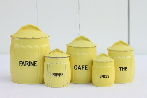 French vintage kitchen canister set in yellow   vintage ...