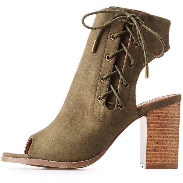 53a8f3a21cf91 Qupid Lace-Up Slingback Booties ($25) ❤ liked on Polyvore featuring ...
