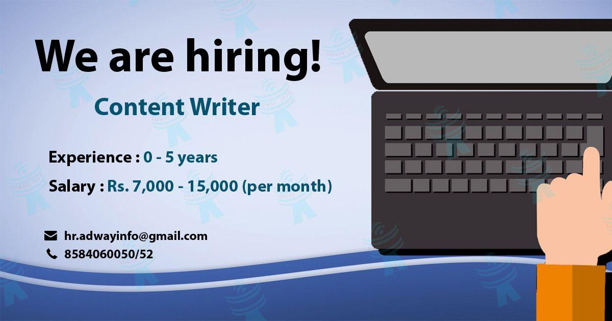 Urgent Hiring For A Content Writer Writers Contentmarketing Contentdevelopment Contentmanagement Job Roles Research Skills Job Opening