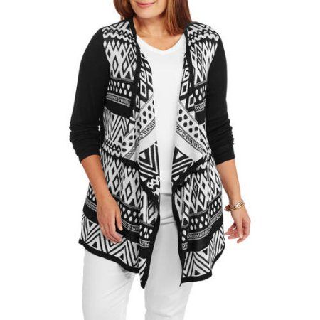 Plus Size Faded Glory Womens Plus Open Front Jacquard Cardigan
