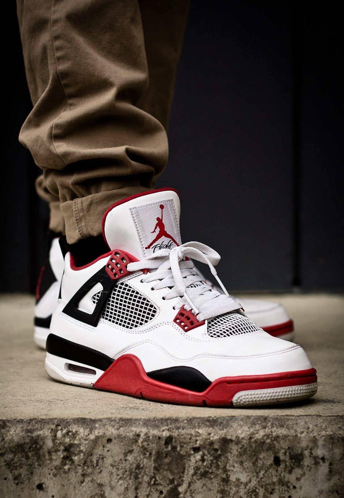 Jordan 4 S Fire Red Khaki Nike Shoes For Sale Running Shoes