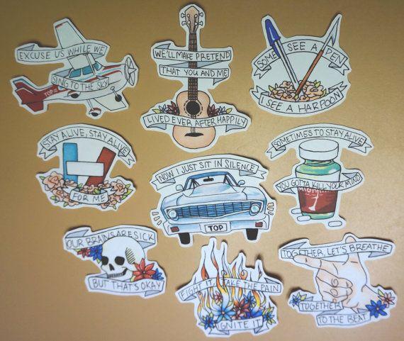 Kitchen Sink Twenty One Pilots Tattoo twenty one pilots sticker set full setdelinqwentz on etsy
