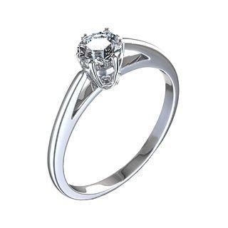 Anel Solitario Ouro Branco Com Diamante 6 Garras Anel